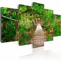 Schilderij - Pad door het Bos III, Groen, 5luik , bruin , premium print op canvas