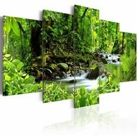 Schilderij - In de machtige Jungle, Groen, 5luik