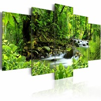 Schilderij - In the mighty jungle, groen, 5luik, 2 maten
