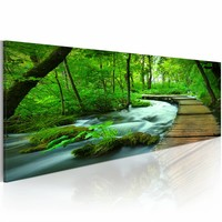 Schilderij Pad door het bos III  120x40cm, Groen/Bruin/Blauw, 1luik