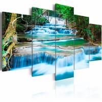 Schilderij - Blauwe Waterval in Kanchanaburi - Thailand, 5luik , groen , premium print op canvas