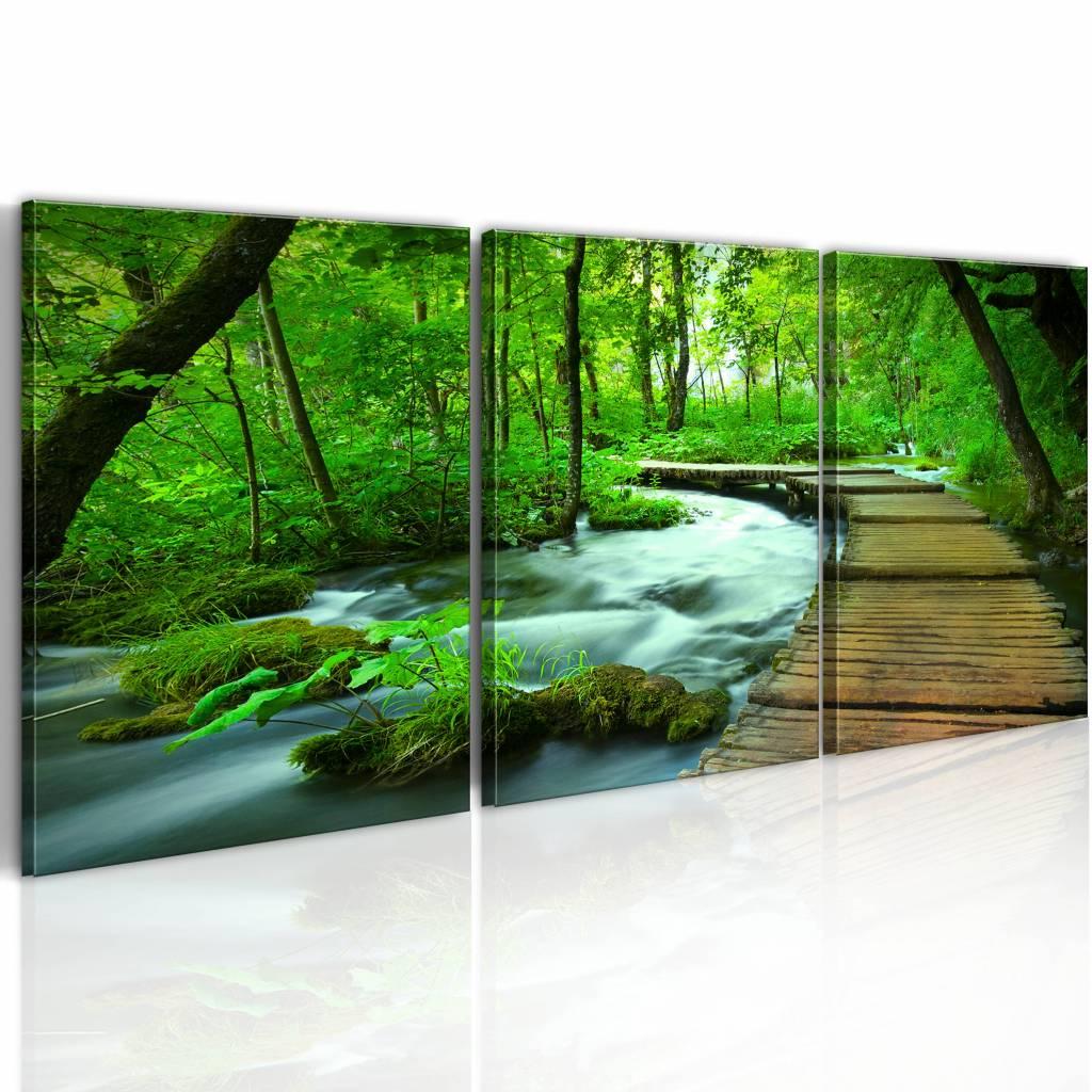 Schilderij - Pad door het Bos IV, 3luik, 120x40cm , groen bruin , premium print op canvas