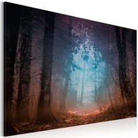 Canvas Schilderij rand van het bos, rood/blauw/zwart, 1 deel, 2 maten