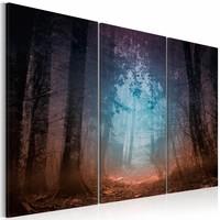 Schilderij - Rand van het Bos, 3luik , bruin blauw , premium print op canvas