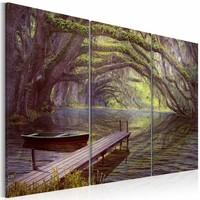 Schilderij - Verzacht de Zintuigen,  3luik , groen bruin , premium print op canvas