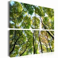 Schilderij - Boomtoppen, Groen, 4luik , premium print op canvas