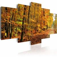 Schilderij Kleurrijke bladeren, 5luik, 2 maten, geel/oranje
