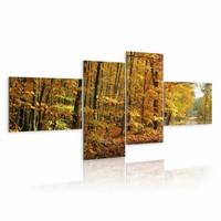Schilderij Herfst, bruin/groen, 4luik, 2 maten, geel/ oranje