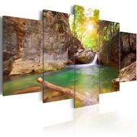 Schilderij - Bergmeer III, Groen/Bruin, 5luik , premium print op canvas