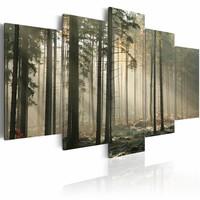 Schilderij - Licht in het Donker - Bos, 5luik
