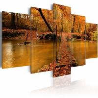 Schilderij Het rood van de herfst, rood/oranje, 5luik, 2 maten