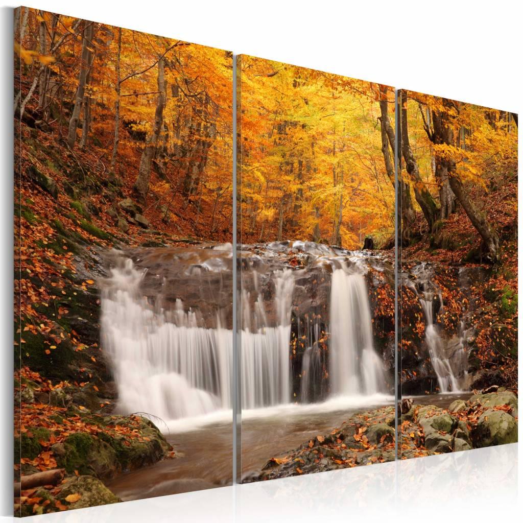 Schilderij - Waterval in de Herfst, 3luik , oranje wit , premium print op canvas
