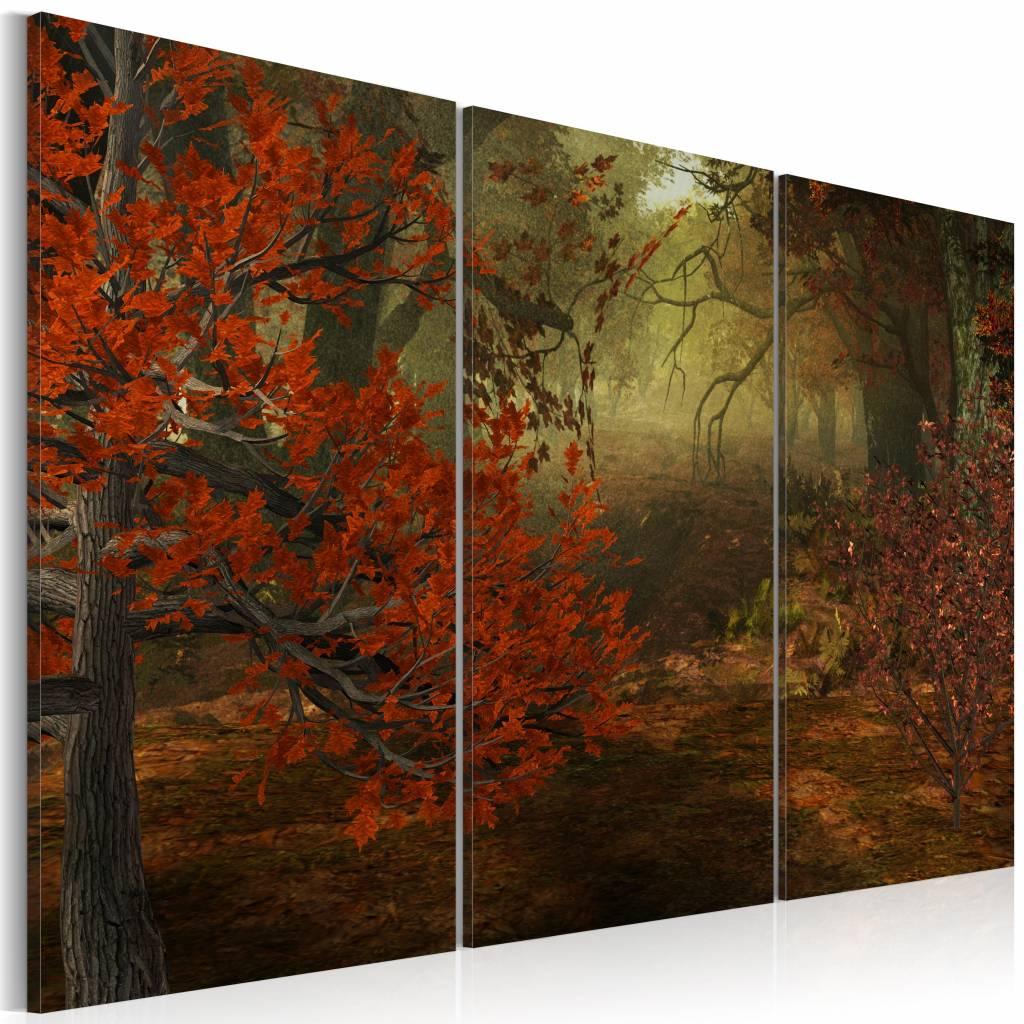 Schilderij - Bos, Rood/Groen, 3luik , premium print op canvas