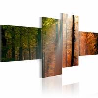 Schilderij - Zonnestralen door de bomen, 4luik, 2 maten, groen/rood