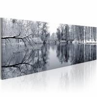 Schilderij - Landschap: Winter,    premium print op canvas , wanddecoratie