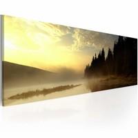 Schilderij - Mist over een Meer, Geel/Zwart, 1luik, 120x40cm