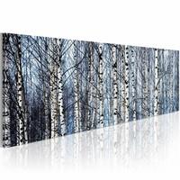 Schilderij - Witte Berken, Blauw/Wit, 120x40cm