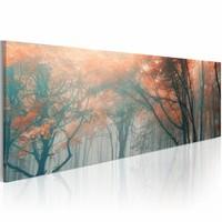 Schilderij - Herfst Mist , oranje grijs , wanddecoratie , premium print op canvas