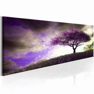 Schilderij - Heide Heuvel 150X50cm , boom , paars grijs , 1 luik