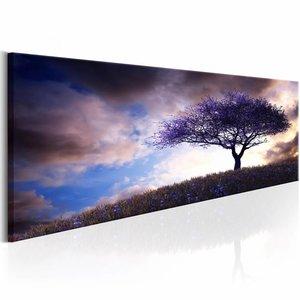 Canvas Schilderij - Paarse Heuvel 150X50 , boom , blauw , 1 luik