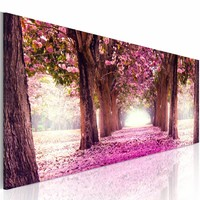 Schilderij - Fuchsia Tuin 150X50 , roze bruin , 1 luik