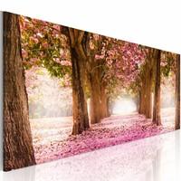 Schilderij - Droom Bos, Roze/Bruin, wanddecoratie, print op canvas, 1luik