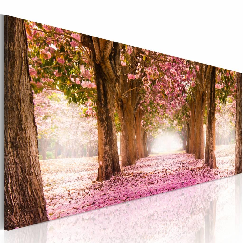 Schilderij - Droom Bos, Roze/Bruin, 1luik