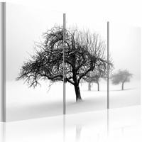 Schilderij - Bomen in de Sneeuw, Zwart-Wit, 3luik