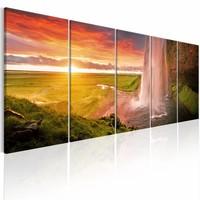 Canvas Schilderij - Seljalandsfoss Waterval - 5 luik , oranje groen , 2 maten