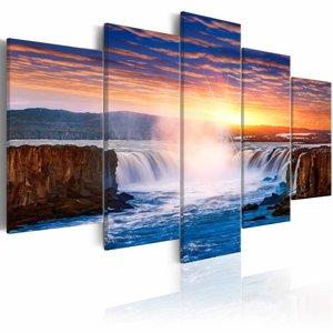 Canvas Schilderij - Selfoss Waterval, IJsland  , mulri kleur , 5 luik , 2 maten