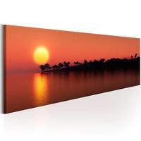Schilderij - Bomen Eiland , oranje  , zon