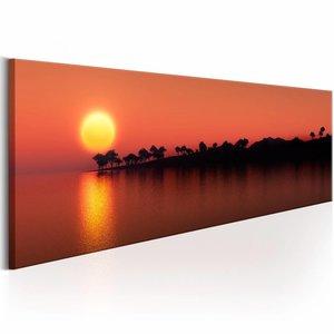 Schilderij - Bomen Eiland , oranje  , zon , 1 luik