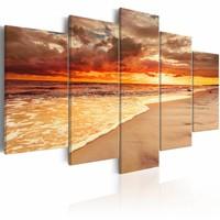 Schilderij - Prachtige zonsondergang aan zee , oranje , strand , 5 luik