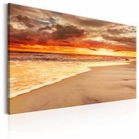 Schilderij - Prachtige zonsondergang  , oranje , strand