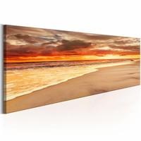 Canvas Schilderij - Prachtige zonsondergang op het strand , oranje , 1 luik , 2 maten