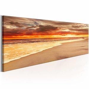 Schilderij - Prachtige zonsondergang op het strand , oranje , 1 luik