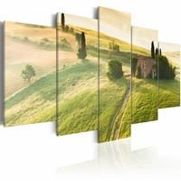 Schilderij - Toscane, Groen, 5luik , wanddecoratie , premium print op canvas