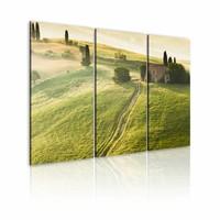 Schilderij - Onder de Zon - Toscane, Groen, 3luik