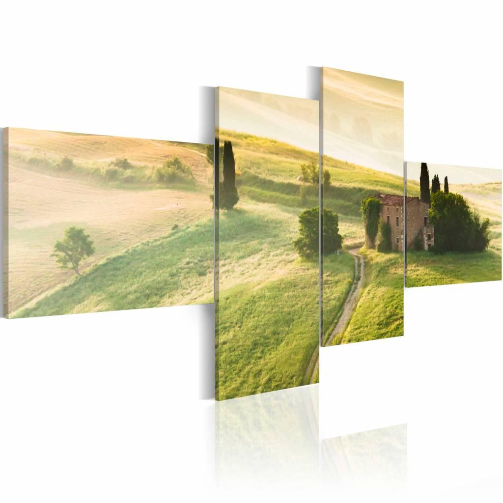 Schilderij - Schilderij Toscane, Groen, 4luik , wanddecoratie , premium print op canvas