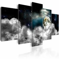 Schilderij - Magische Nacht - 5 luik , wit blauw   , wolken planeet