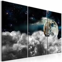 Canvas Schilderij - Magische Nacht - 3 luik 120X80 , wit blauw