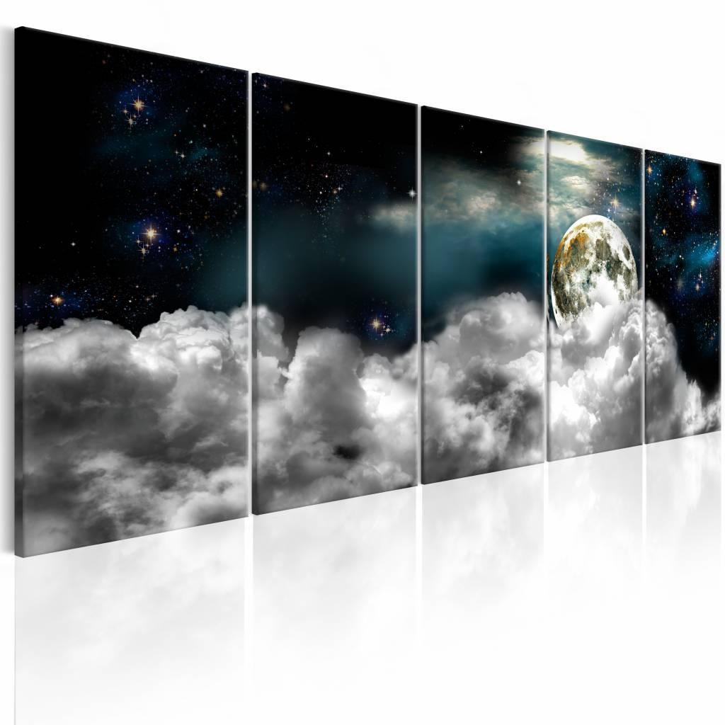 Schilderij - Maan door de wolken - 5 luik , wit blauw