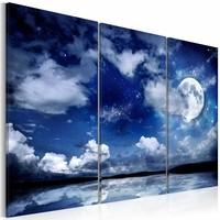 Schilderij - De Zee bij Nacht, Blauw, 3luik ,  wanddecoratie , premium print op canvas