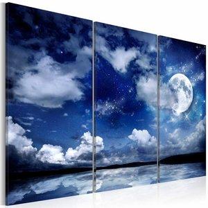 Schilderij De zee bij nacht, blauw/wit, 3luik, 2 maten