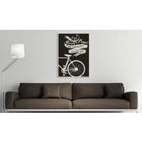Schilderij - Life is like riding a bicycle...  Zwart-Wit, 1luik, 50x70cm