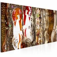 Schilderij - Met bloemen in je haar - Bruin 150X50cm , 1 luik
