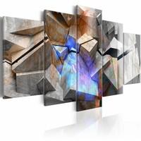 Schilderij - Abstracte Kubus , blauw  grijs , 5 luik