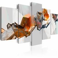 Schilderij -Vurige Blokken , oranje grijs , 5 luik