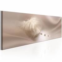 Canvas Schilderij - Delicate Veer 150X50 , wit beige , 1 luik