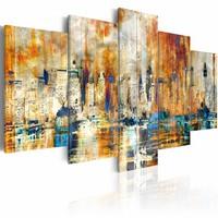 Schilderij - Herinneringen aan de stad, Oranje/Blauw,  5luik